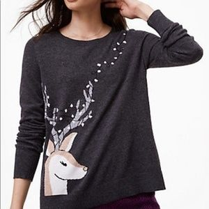 LOFT Gray Reindeer Ugly Christmas Sweater Medium